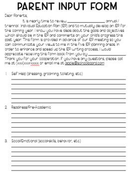 IEP Parent Input Form (Bilingual)
