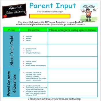 IEP Parent Input Form Editable