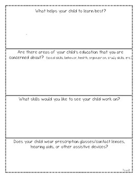 End of the Year IEP Parent Input Questionnaire