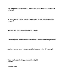 IEP Parent Input Survey