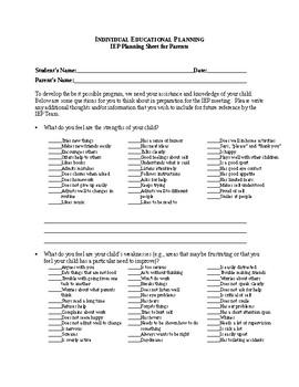 IEP Parent Planning Worksheet