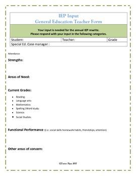 IEP Parent & Teacher Input Forms