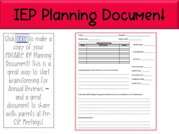IEP Planning Document