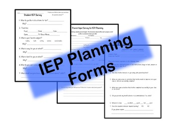 IEP Planning Forms