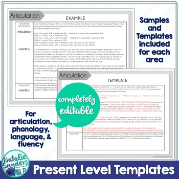 IEP Present Level Templates for SLPs - Completely Editable