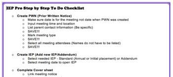 IEP Pro Step by Step checklist