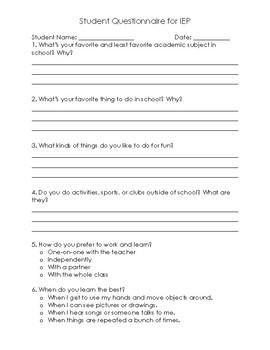 IEP Questionnaires