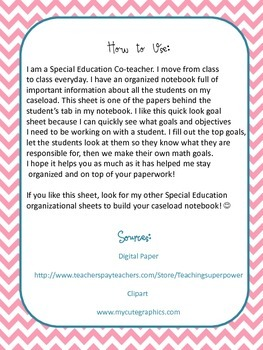 IEP Quick Look Goal Sheet