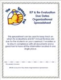 IEP/Re-evaluation Due Dates Organizational Spreadsheet
