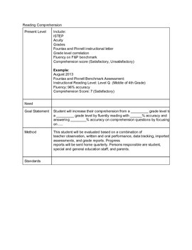 IEP- Reading Comprehension Goal