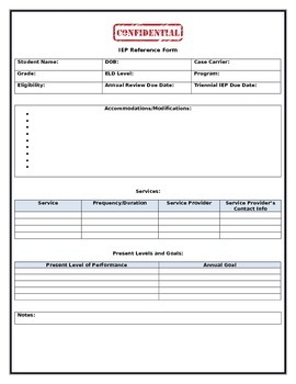 IEP Reference Form