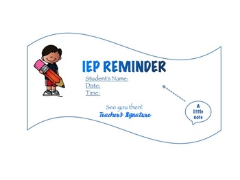 IEP Reminder Note *EDITABLE*