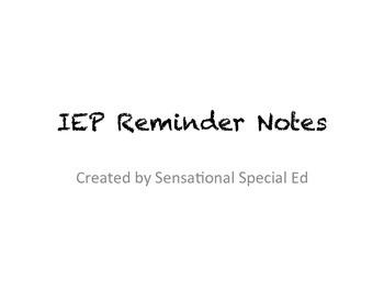 IEP Reminder Slips