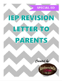 IEP Revision Letter to Parents