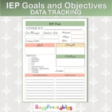 IEP STUDENT GOALS and OBJECTIVES TRACKING DATA COLLECTION RECORDING PAGE