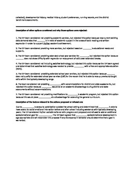 IEP Sample Prior Written Notice