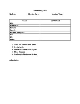 IEP-Scheduling the Meeting Checklist