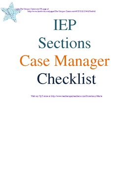 IEP Sections Case Manager Checklist