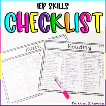 IEP Skills Checklist