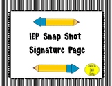 IEP Snap Shot Signature Page