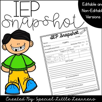 IEP Snapshot {Editable & Non-Editable Version}