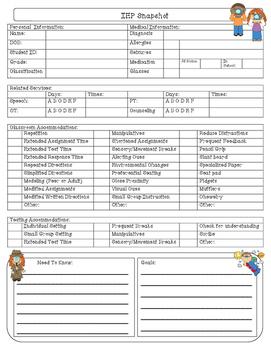 IEP Snapshot Checklist