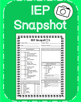 IEP Snapshot Form- Daybook Copy for Teachers/Supply