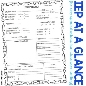 FREE IEP Snapshot - IEP at a Glance - IEP Data Sheet
