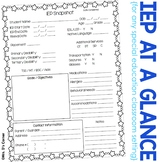 FREE IEP Snapshot - IEP at a Glance - IEP Data Sheet