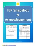IEP Snapshot and Acknowledgement for all staff