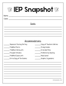 IEP Snapshot for Middle/High School