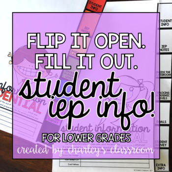 IEP Student Info | Flip Book (Lower Grades)  | Special Education
