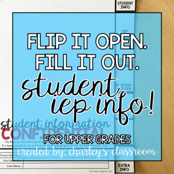 IEP Student Info | Flip Book (Upper Grades) | Special Education Resource
