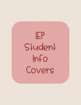 IEP Student Information Covers