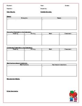 IEP - Student Information Summary Sheet