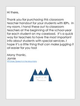 IEP Summary Handout for Classroom Teachers