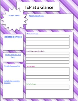 IEP Summary Page