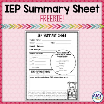 FREEBIE - IEP Summary Sheet
