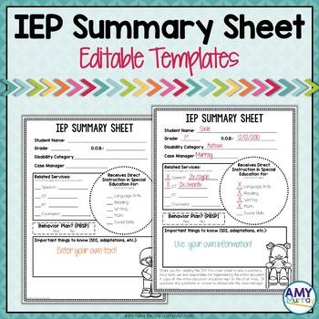 IEP Summary Sheet (Editable!)