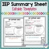 IEP Summary Sheet Editable Templates