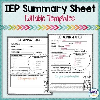 IEP Summary Sheet Editable Templates by Amy Murray | TpT