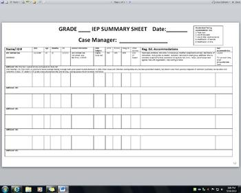 IEP Summary Spreadsheet for Case Manager