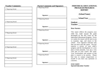 IEP Summary (every 6 weeks - School to Parent)