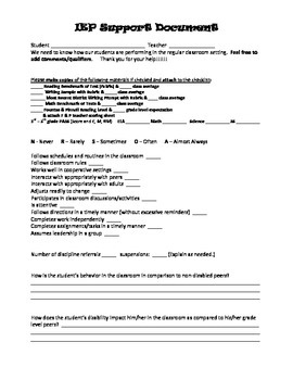 IEP Support Document - Collaboration w/ General Education