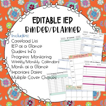 IEP / Special Education Teacher Binder and Planner EDITABLE