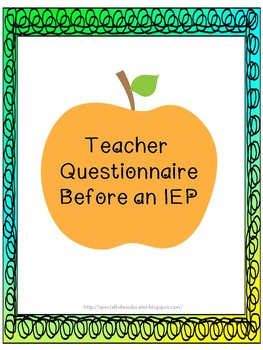 IEP Teacher Questionnaire