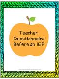 IEP Teacher Questionnaire