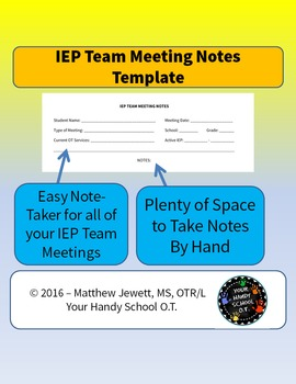 IEP Team Meeting Notes Template