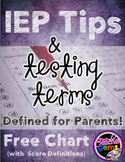 IEP Tips and Testing Terms Defined - Free Chart