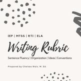 IEP Writing Rubric for Sentence Fluency, Organization, Ide